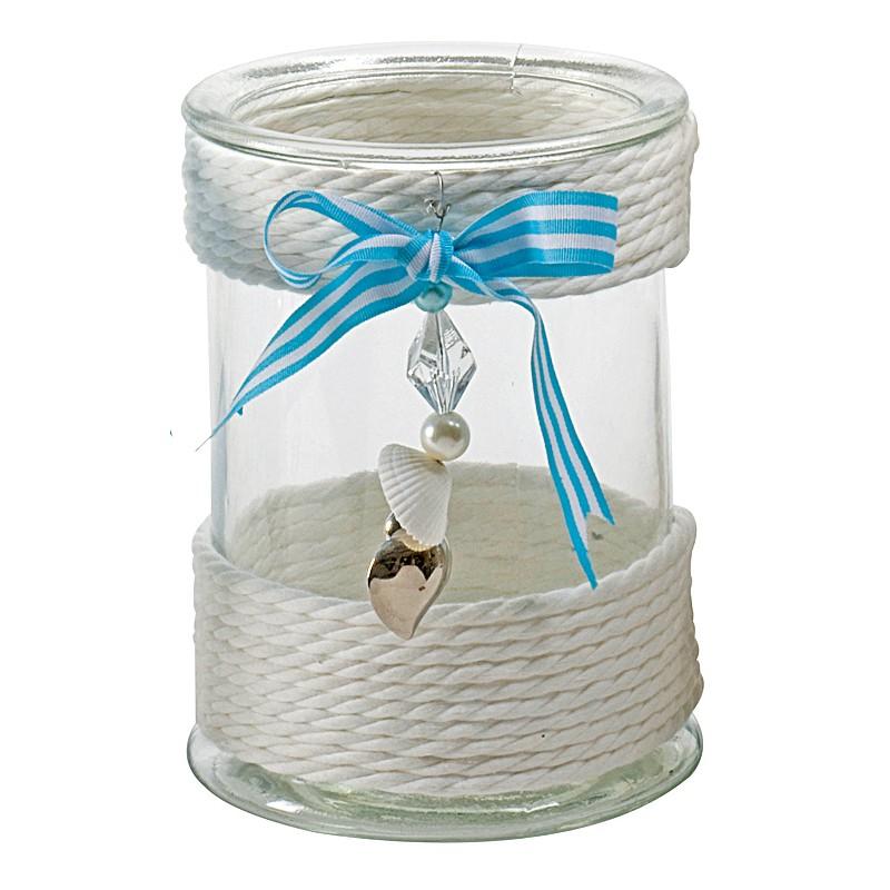 my choice glas windlicht maritim mit schleife und silberherz kordel 13 x 17. Black Bedroom Furniture Sets. Home Design Ideas
