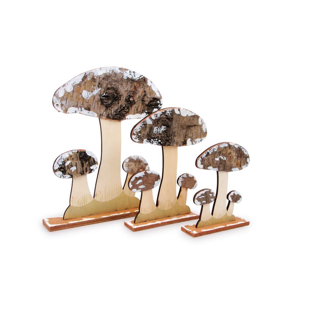 small foot 6580 deko pilze aus holz und rinde mehrfarbig 3er pack ebay. Black Bedroom Furniture Sets. Home Design Ideas