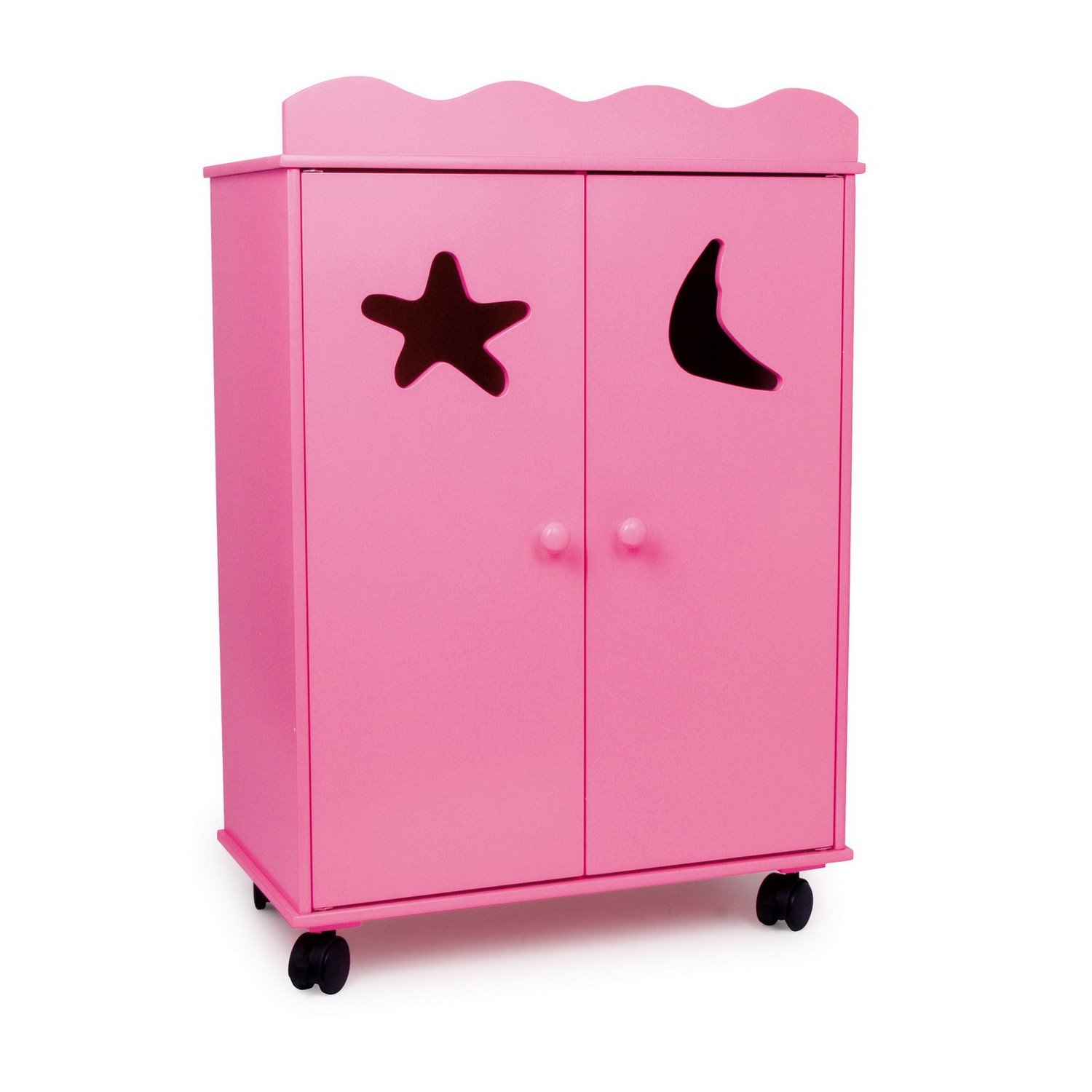 puppen kleiderschrank pink mit rollen pink 1 st ck spielzeug kinderzimmer spielecke. Black Bedroom Furniture Sets. Home Design Ideas