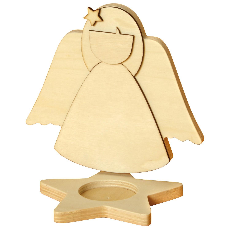 Sunnysue stern teelichthalter 3d engel aus holz 1 st ck for Engel basteln holz