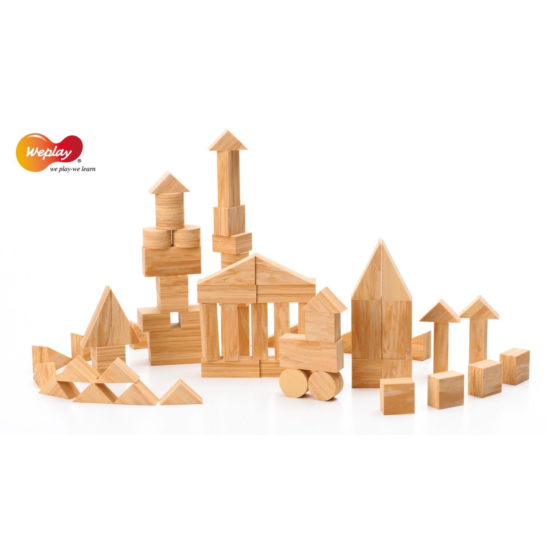 weplay softwood mini blocks bl cke bausteine aus eva in holzoptik 68 teilig spielzeug. Black Bedroom Furniture Sets. Home Design Ideas