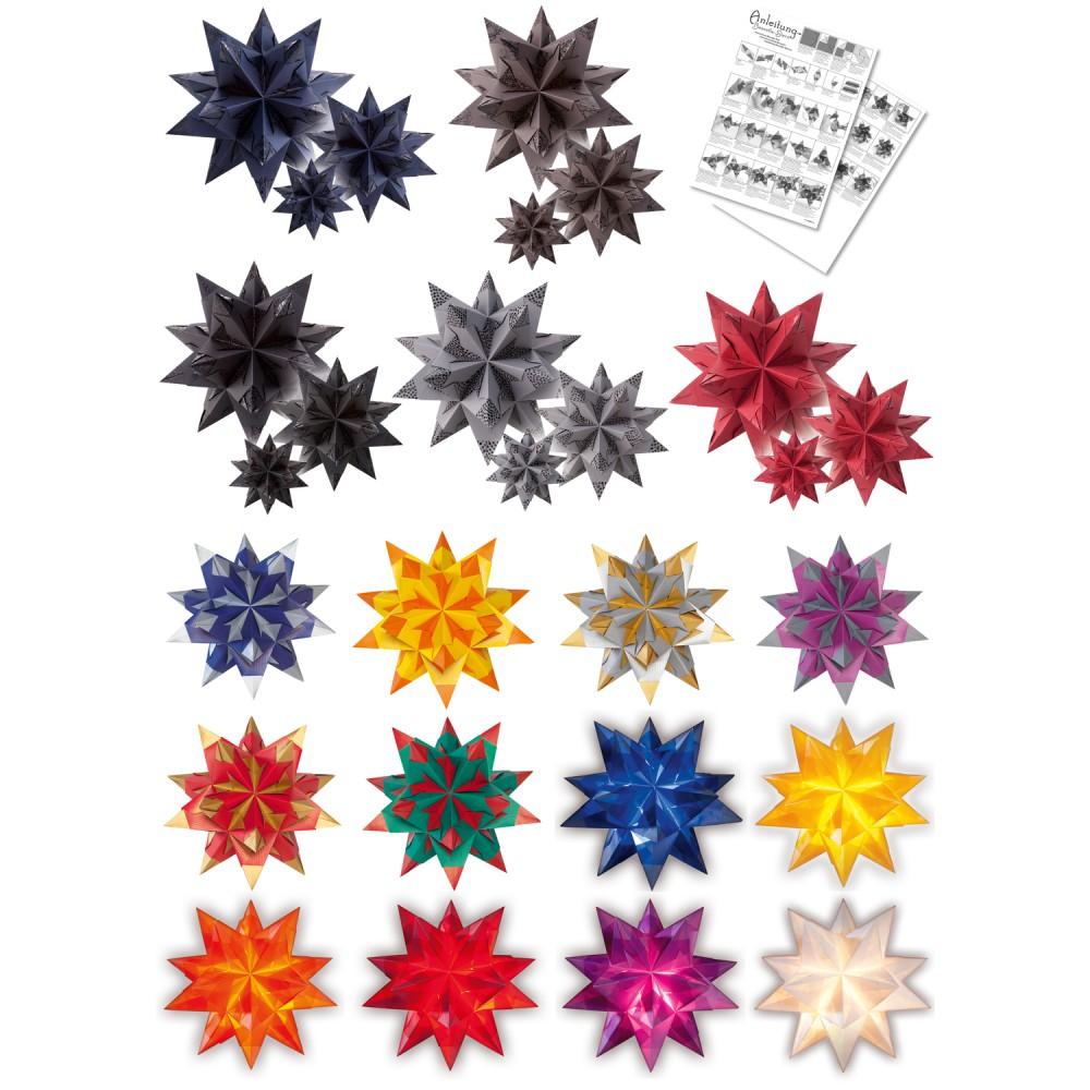 folia bascetta stern weihnachtsstern 3d origamistern faltbl tter bastelset. Black Bedroom Furniture Sets. Home Design Ideas
