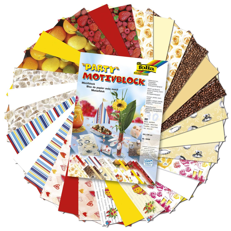 Folia Motivblock 24x34cm, 26-30 Blatt, verschiedene Designs / Motive zum Basteln